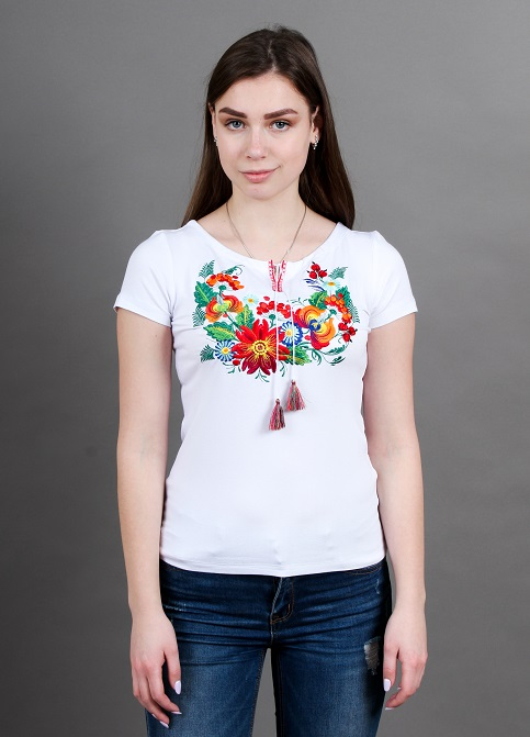 Купити жіночу футболку вишиванку Петриківка (біла з червоним) в Україні від Галичанка фото 1