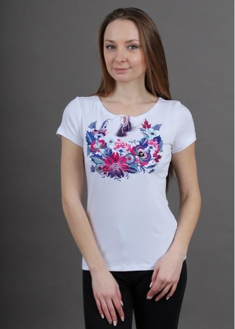 Купити жіночу футболку вишиванку Петриківка (біла з фіолетовим) в Україні від Галичанка фото 1