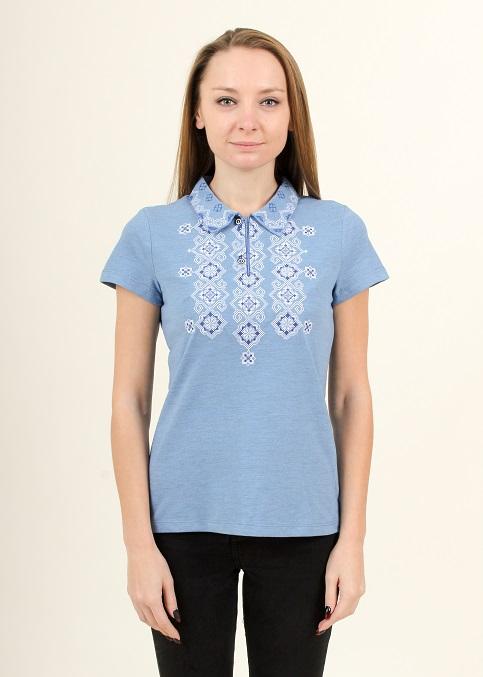 Купити жіночу футболку вишиванку Романтика (голуба з синім) в Україні від Галичанка фото 1