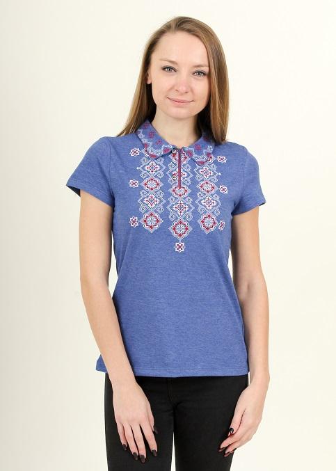 Купити жіночу футболку вишиванку Романтика (джинс т. з червоним) в Україні від Галичанка фото 1