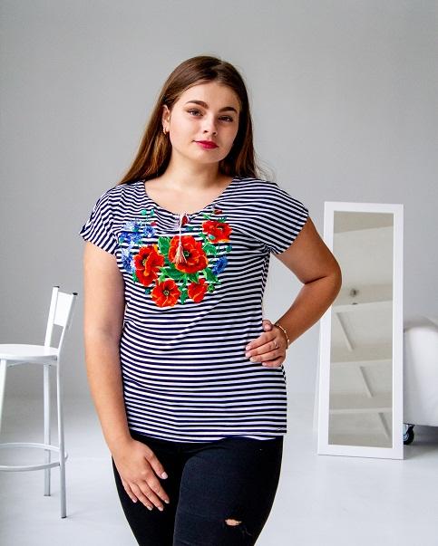 Купити жіночу футболку вишиванку Волошкове поле (полоска) в Україні від Галичанка фото 1