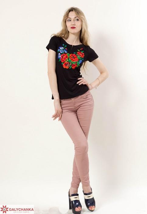 Купити жіночу футболку вишиванку Волошкове поле (чорна) в Україні від Галичанка фото 1