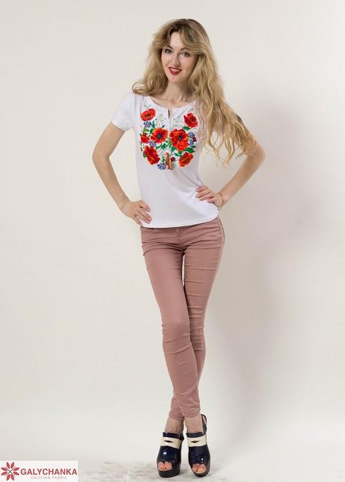 Купити жіночу футболку вишиванку Багряні маки  (біла) в Україні від Галичанка фото 1