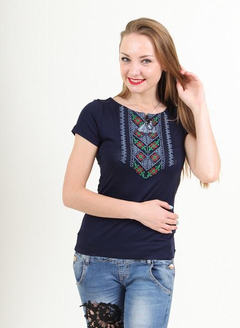 Купити жіночу футболку вишиванку Чарівне колосся (синя з сірим) в Україні від Галичанка фото 1