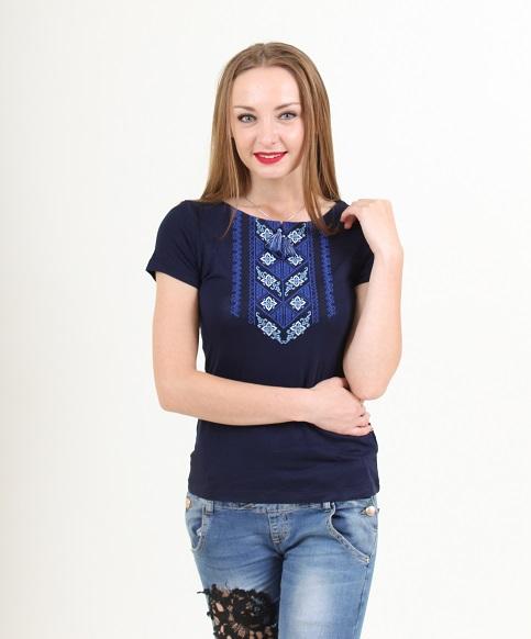 Купити жіночу футболку вишиванку Чарівне колосся (синя з синім) в Україні від Галичанка фото 1