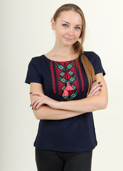 Купити жіночу футболку вишиванку Чарівне колосся (синя з червоним) в Україні від Галичанка фото 1