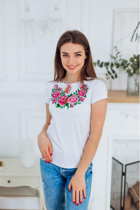 Купити жіночу футболку вишиванку Тіффані (біла з рожевим) в Україні від Галичанка фото 1
