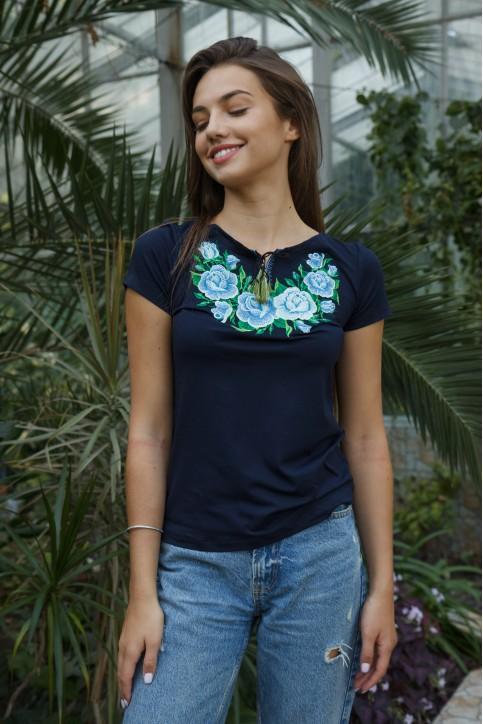 Купити жіночу футболку вишиванку  Тіффані (голуба) в Україні від Галичанка фото 1