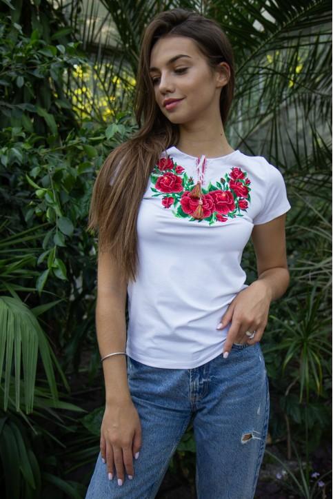 Купити жіночу футболку вишиванку Глорія (біла з рожевим) в Україні від Галичанка фото 1
