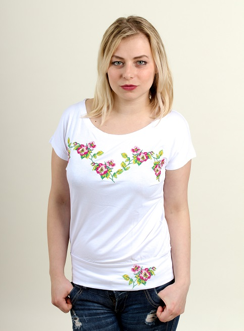Купити жіночу футболку вишиванку Яблуневий цвіт (біла з рожевим) в Україні від Галичанка фото 1