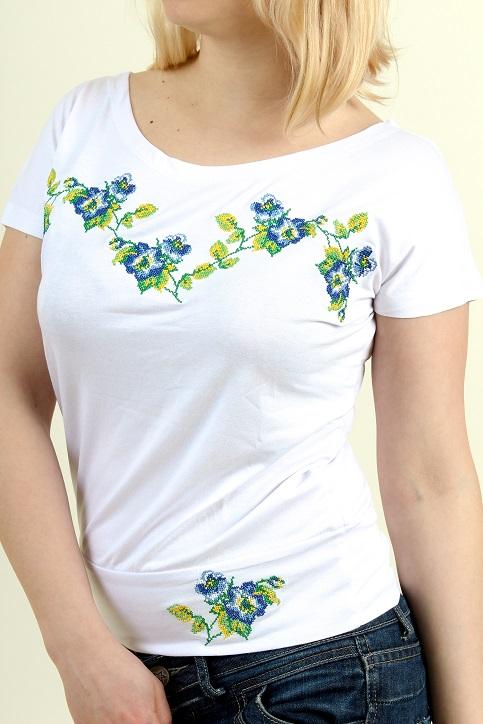 Купити жіночу футболку вишиванку Яблуневий цвіт (біла з синім) в Україні від Галичанка фото 1