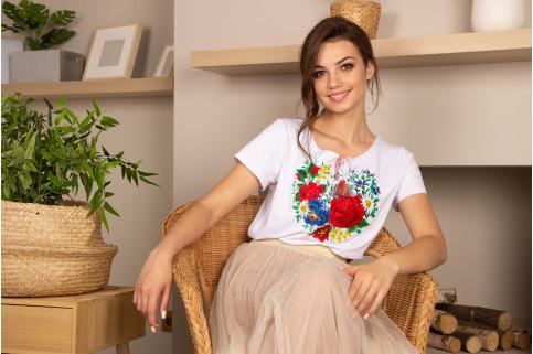 Купити жіночу футболку вишиванку Марсель (біла) в Україні від Галичанка фото 1
