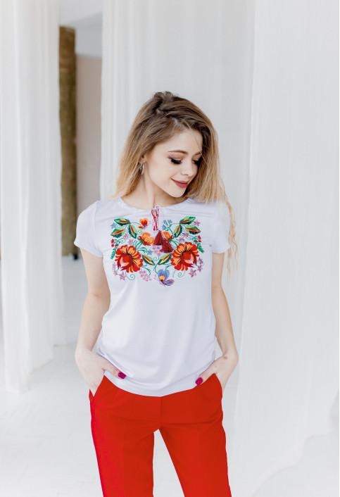 Купити жіночу футболку вишиванку Мазурка (біла) в Україні від Галичанка фото 1