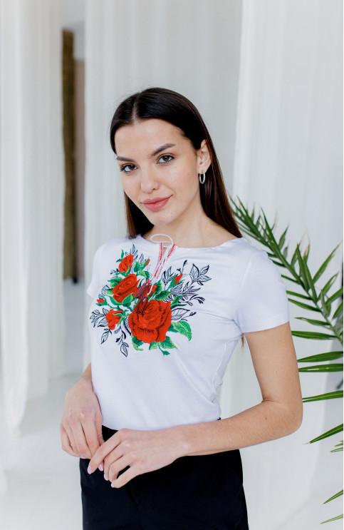 Купити жіночу футболку вишиванку  Моніка   (біла) в Україні від Галичанка фото 1