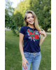 Купити жіночу футболку вишиванку Моніка (т.синя) в Україні від Галичанка фото 1