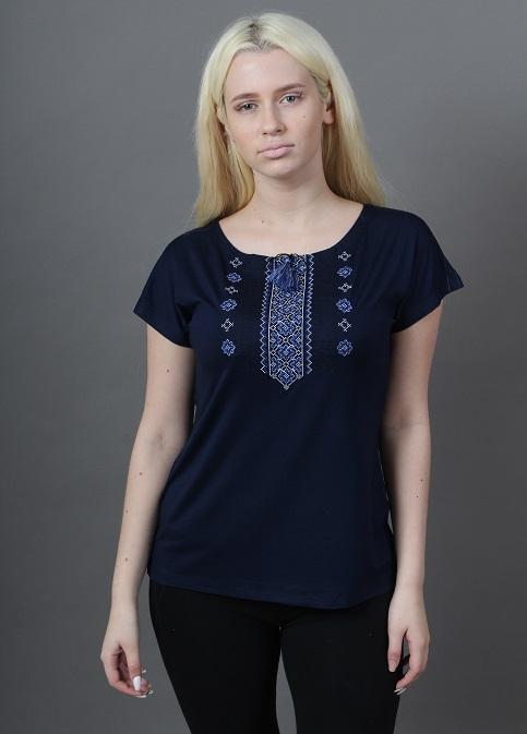 Купити жіночу футболку вишиванку Орнамент крильце (синя з синім) в Україні від Галичанка фото 1