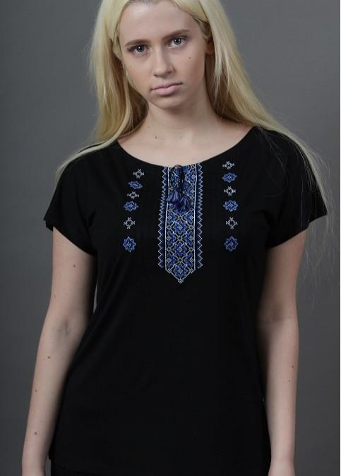 Купити жіночу футболку вишиванку Орнамент крильце (чорна з синім) в Україні від Галичанка фото 1