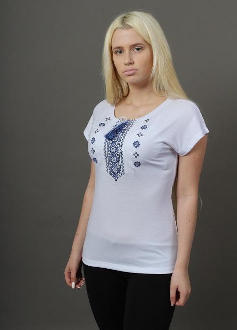 Купити жіночу футболку вишиванку Орнамент крильце (біла з синім) в Україні від Галичанка фото 1