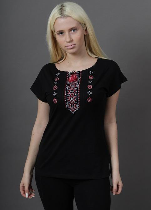 Купити жіночу футболку вишиванку Орнамент крильце (чорна з червоним) в Україні від Галичанка фото 1
