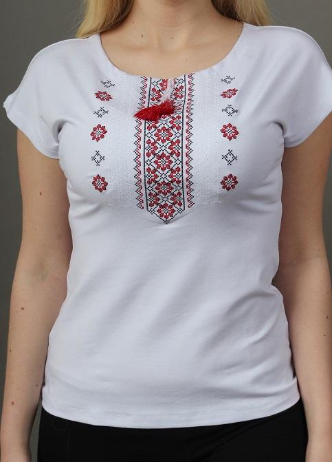 Купити жіночу футболку вишиванку Орнамент крильце (біла з червоним) в Україні від Галичанка фото 1