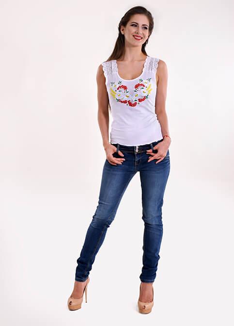 Купити жіночу футболку вишиванку Рандеву (біла) в Україні від Галичанка фото 1