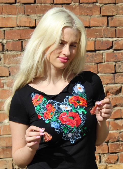 Купити жіночу футболку вишиванку Шарм (чорна) в Україні від Галичанка фото 1