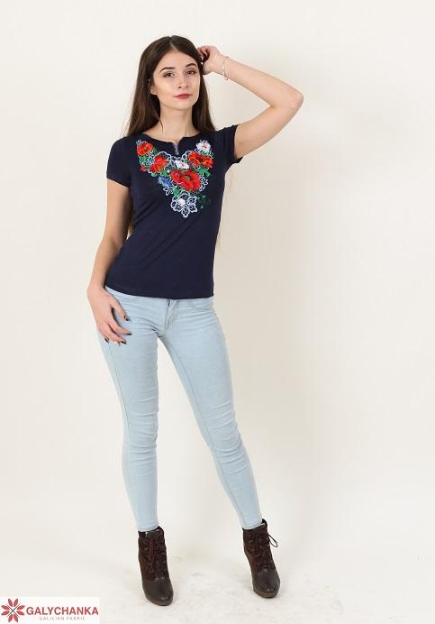 Купити жіночу футболку вишиванку Шарм (синя) в Україні від Галичанка фото 1