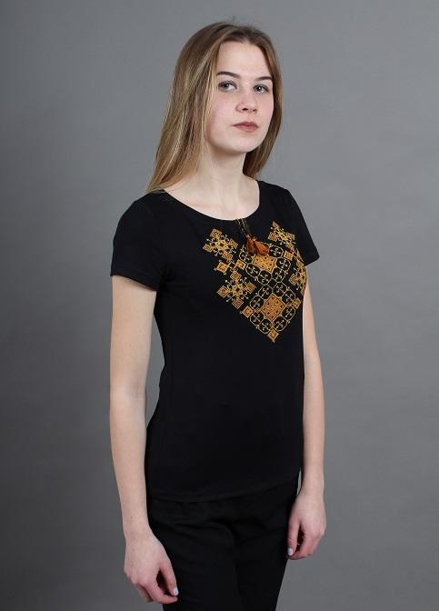 Купити жіночу футболку вишиванку Слов'янський узор (чорна з золотом) в Україні від Галичанка фото 1
