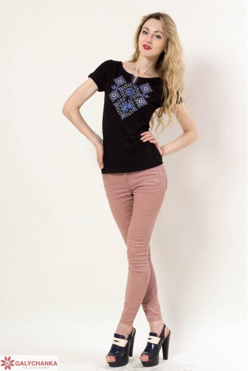 Купити жіночу футболку вишиванку Слов'янський узор (чорний з синім) в Україні від Галичанка фото 1