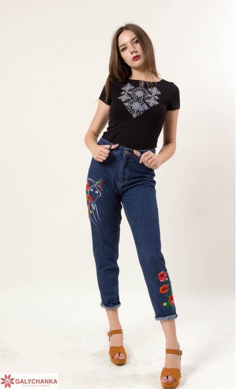 Купити жіночу футболку вишиванку Слов'янський узор (чорний з сірим) в Україні від Галичанка фото 1