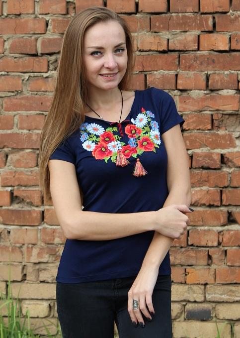 Купити жіночу футболку вишиванку Соната (синя) в Україні від Галичанка фото 1