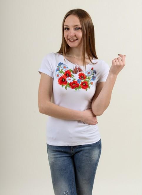 Купити жіночу футболку вишиванку Соната (біла) в Україні від Галичанка фото 1