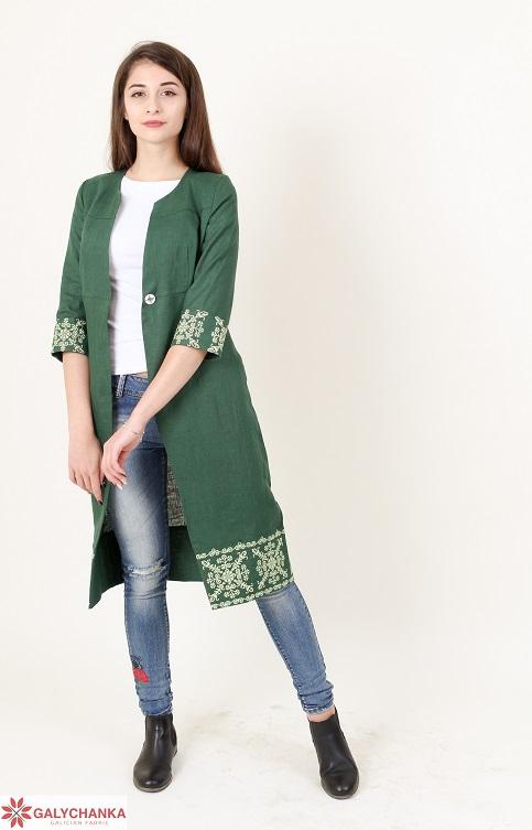 Купити жіночий кардиган Класика (зелена) з вишивкою в Україні від Галичанка фото 1