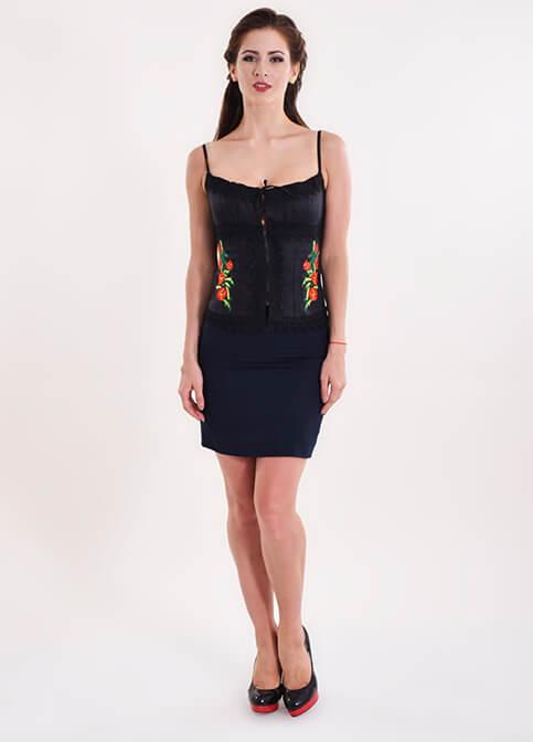 Купити жіночий корсет Мак (чорний з червоним) з вишивкою в Україні від Галичанка фото 1
