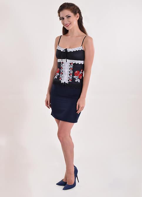 Купити жіночий корсет Троянда (чорний з червоним) з вишивкою в Україні від Галичанка фото 1