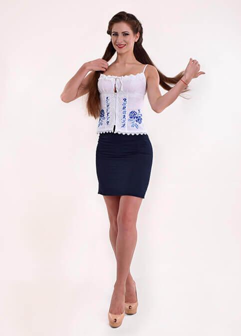 Купити жіночий корсет Троянда (біла з синім) з вишивкою в Україні від Галичанка фото 1