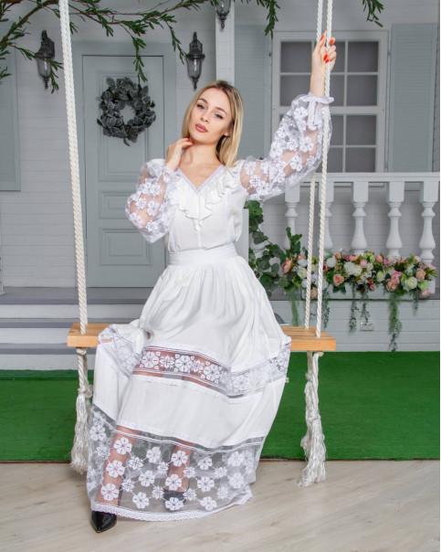 Купити жіночий костюм  Щаслива мить ( білий) з вишивкою в Україні від Галичанка фото 1