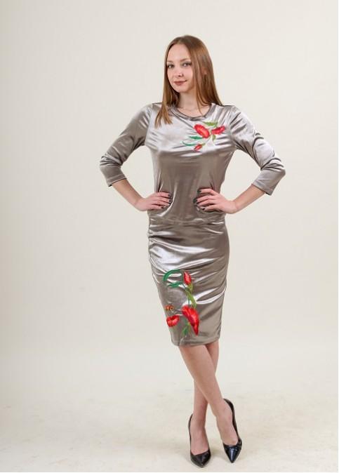 Купити жіночий костюм Іванна (сірий) з вишивкою в Україні від Галичанка фото 1