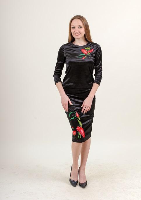 Купити жіночий костюм Іванна (чорний) з вишивкою в Україні від Галичанка фото 1