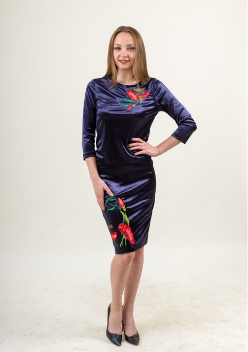 Купити жіночий костюм Іванна (синій) з вишивкою в Україні від Галичанка фото 1
