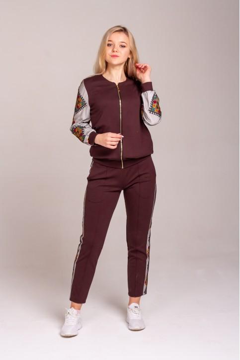 Купити жіночий костюм Музичні сни (коричневий) з вишивкою в Україні від Галичанка фото 1