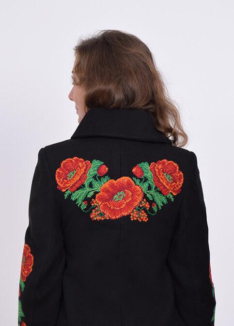 Купити пальто з вишивкою Букет маків (чорне)в Україні від Галичанка фото 1