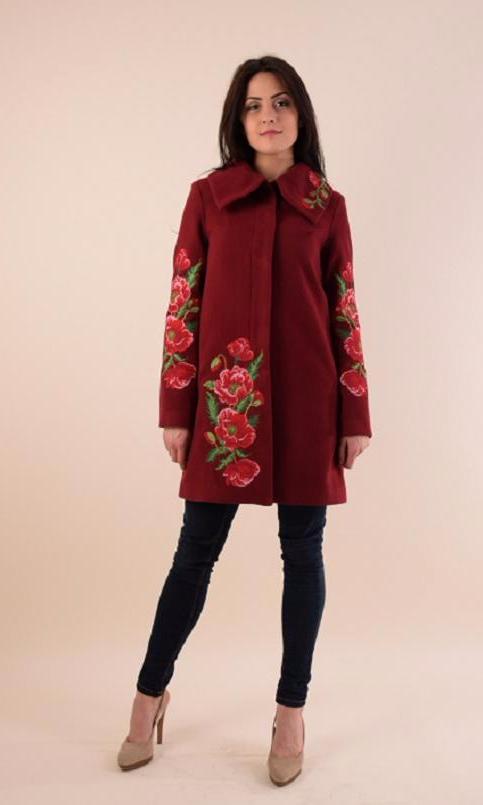 Купити пальто з вишивкою Букет маків (вишневе)в Україні від Галичанка фото 1