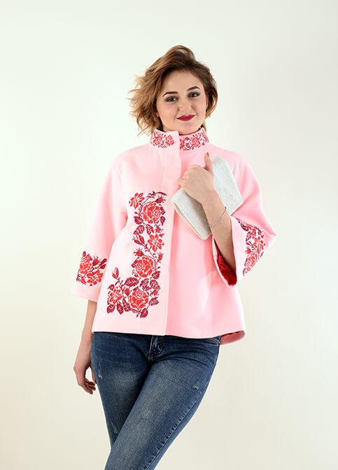 Купити жіночий жакет з вишивкою Дика Ружа (рожеве) в Україні від Галичанка фото 1