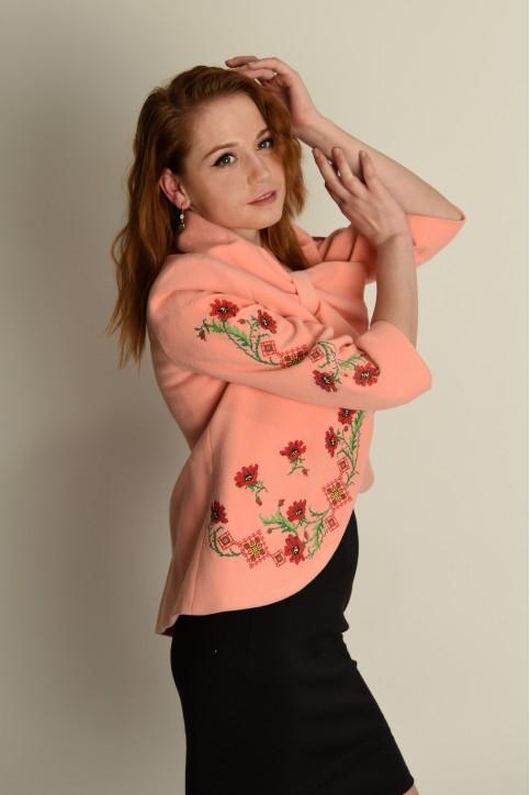 Купити жіночий жакет з вишивкою Квіткові чари (персиковий) в Україні від Галичанка фото 1