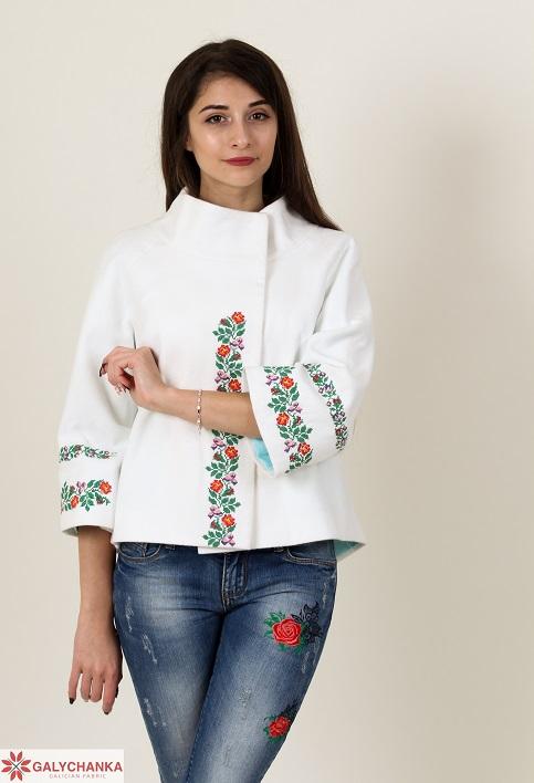 Купити жіночий жакет з вишивкою Квіткова мережка (біле) в Україні від Галичанка фото 1