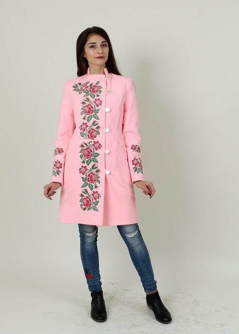 Купити пальто з вишивкою Трояндове мереживо (рожеве)в Україні від Галичанка фото 1