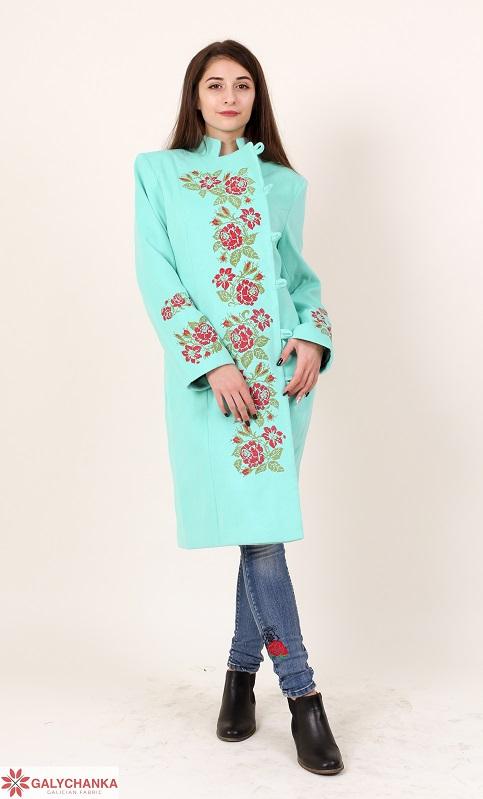 Купити пальто з вишивкою Трояндове мереживо (ментол)в Україні від Галичанка фото 1