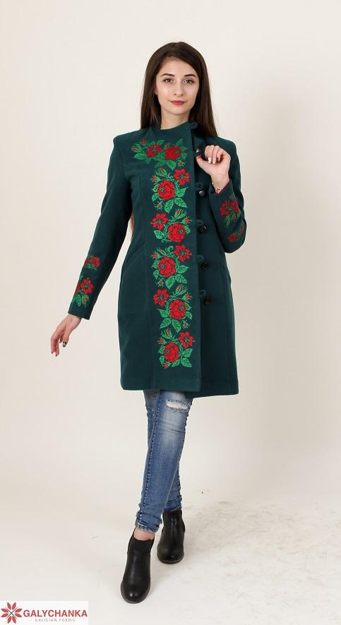 Купити пальто з вишивкою Трояндове мереживо (зелене)в Україні від Галичанка фото 1