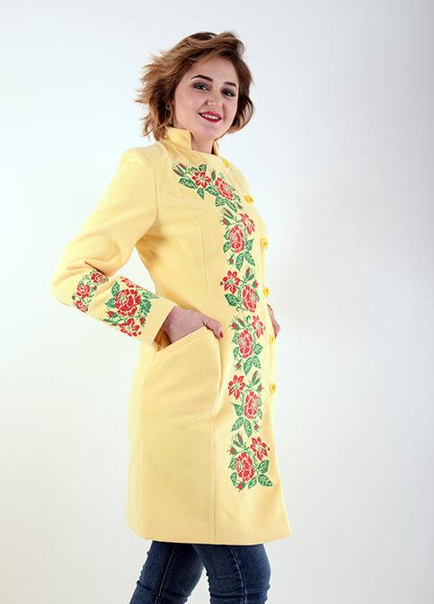 Купити пальто з вишивкою Трояндове мереживо (жовте)в Україні від Галичанка фото 1